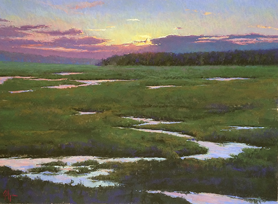 """Jacob Aguiar, """"Sunset Over the Marsh,"""" pastel on paper, 24 x 32 in"""