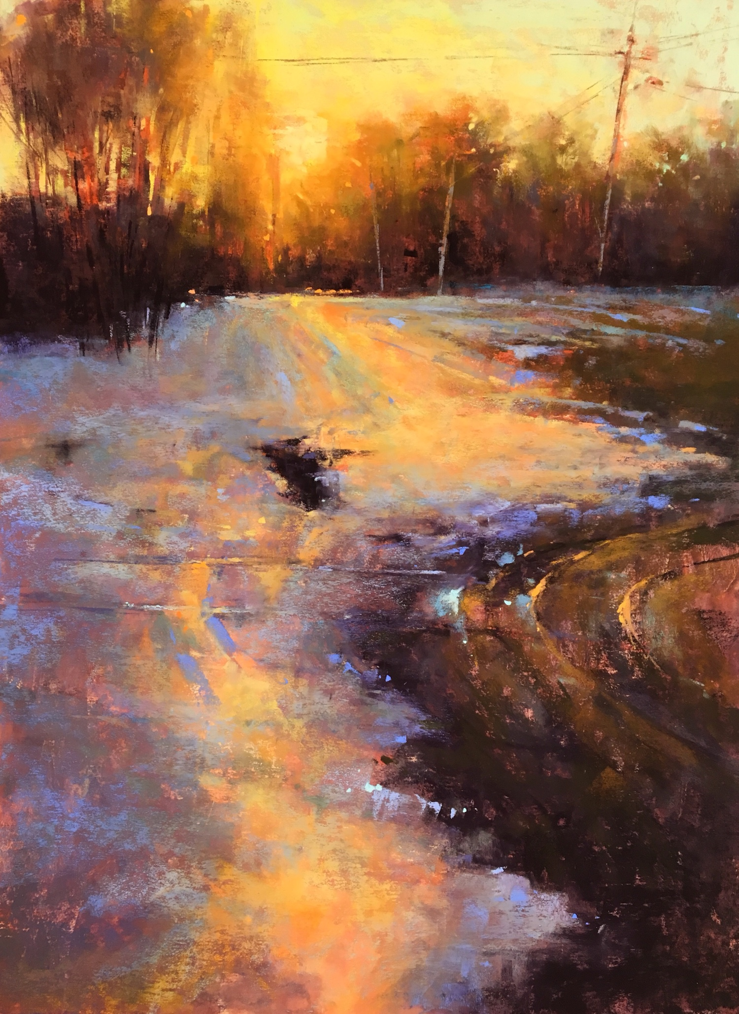 """Jacob Aguiar, """"Winter Glare,"""" pastel on paper, 16 x 12 in"""