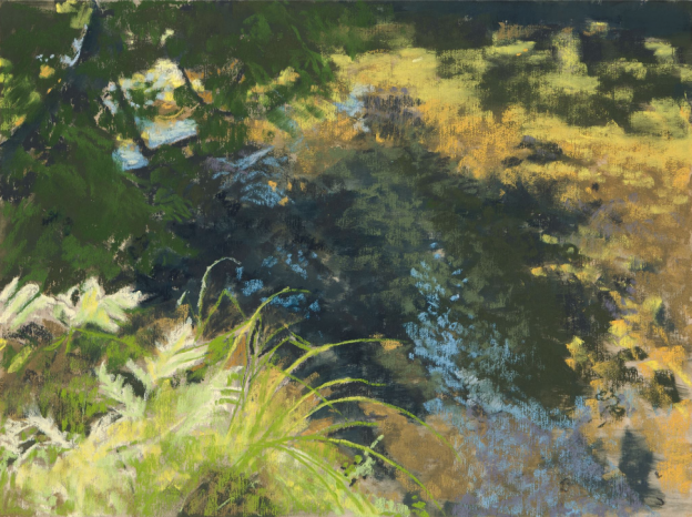 "April's Amazing Pastels: Amy Gamble, ""Crystal River Glen Arbor MI August,"" pastels on Ersta 400 paper, 9 x 12 in"
