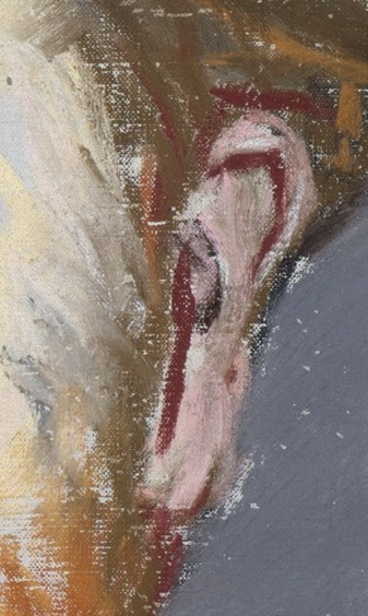 "Édouard Manet, ""George Moore,"" 1879, pastel on canvas, 21 3/4 x 13 7/8 (55.2 x 35.2 cm), Metropolitan Museum of Art, New York, USA - detail. And now we come to the ear. When you first see the portrait you don't notice that dashed-on red line. And then you look closely and there it is, plain as day. Manet uses the red as shadows but rather than use one of the brown pastels, he introduces this colour. It's only seen here, possibly on the opposing side of the face, and in the shadowed part of the lips. I can see Manet spontaneously picking up the red to paint what he sees."