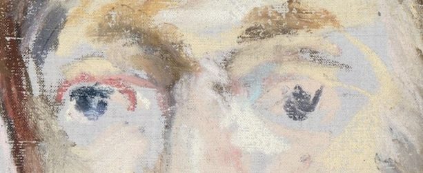 "Édouard Manet, ""George Moore,"" 1879, pastel on canvas, 21 3/4 x 13 7/8 (55.2 x 35.2 cm), Metropolitan Museum of Art, New York, USA - detail. Oh. My. Gosh. The eyes!! You could write a whole blog post about just this! you can see Manet looking, seeing, and making his strokes. Much of the canvas is left bare and that's the cool playing off the warm pastels of creams and yellows. The eyes are there but with so little to describe them. And look at that reddish line for the eye on the left - that says something with so little about Moore's state don't you think?"