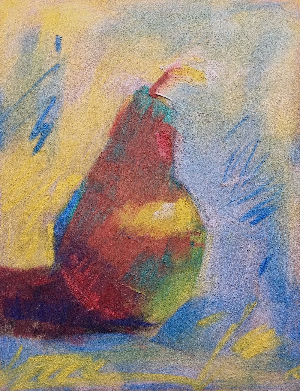 "Gail Sibley, ""Poire Unique,"" Sennelier's iridescent pastels on Sennelier La Carte pastel card, 7 1/2 x 6 in"