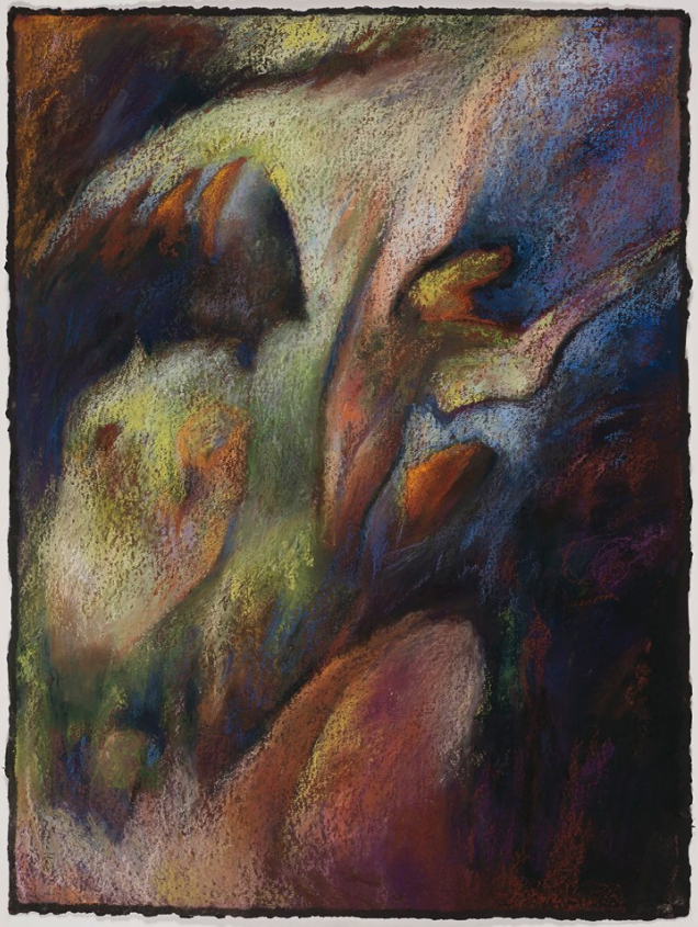 "April's Amazing Pastels: Jane Shoenfeld, ""Nothing Stays Forever Buried,"" pastel over black acrylic gel medium on 300lb watercolour paper, 30 1/2 x 23 in"