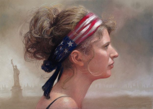 """Carol Peebles, """"Give me your tired, your poor, your huddled masses yearning to breathe free, the wretched refuse of your teeming shore. Send these, the homeless, tempest-tossed to me, I lift my lamp beside the golden door! –Emma Lazarus, Inscribed on the Statue of Liberty,"""" 2016, mixed hard and soft pastels on Colourfix paper, 14 x 19 in. I drew this while trying to recover from the Presidential election results, contemplating what was inscribed on the greatest symbol of America: the Statue of Liberty. This piece is meant as a symbol of hope and strength to work in solidarity for our values."""