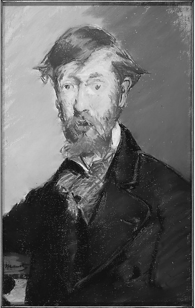 "Édouard Manet, ""George Moore,"" 1879, pastel on canvas, 21 3/4 x 13 7/8 (55.2 x 35.2 cm), Metropolitan Museum of Art, New York, USA. A quick look at in black and white just because you know I'm big on values. You can see how monochromatic Manet's work is when compared with the colour version above. It's really only the face with beard that show colour."
