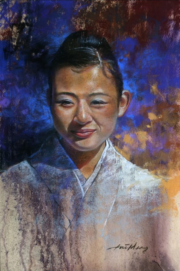 "April's Amazing Pastels: TaiMeng Lim, ""Girl in Yukata,"" pastel on wood panel, 17 x 12 in"