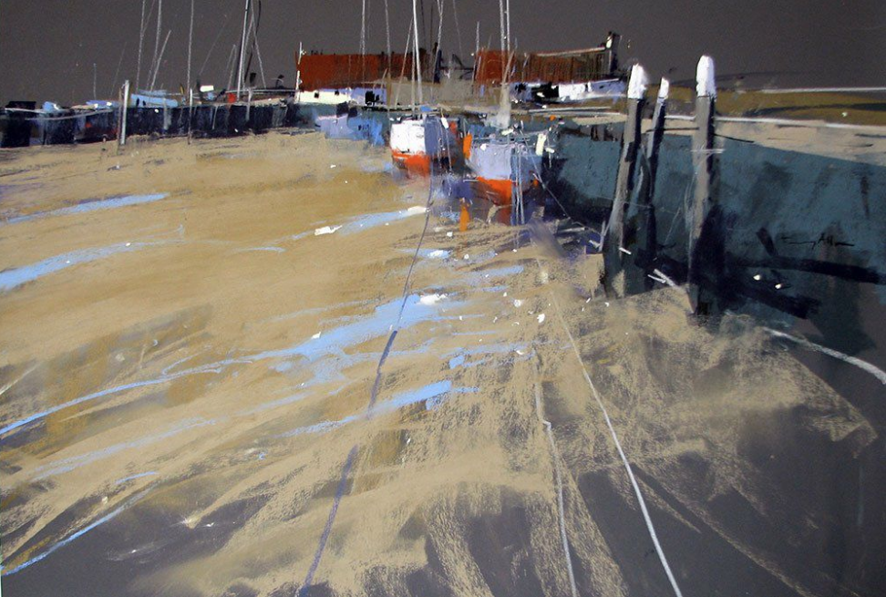 "April's Amazing Pastels: Tony Allain, ""The Quay,"" Unison, Schminke, Terry Ludwig pastels on sanded paper, 18 x 24 in"