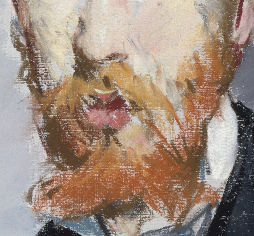 "Édouard Manet, ""George Moore,"" 1879, pastel on canvas, 21 3/4 x 13 7/8 (55.2 x 35.2 cm), Metropolitan Museum of Art, New York, USA - detail. The beard, that ragingly orange beard! Don't those pastel marks look like dry oil brushstrokes?! And look at how much canvas is left bare. I'd be in a rush to cover all those light spots but they give the idea of skin or shirt below the beard and/or light glinting off it. Such bravado in capturing the scruffiness of a beard."