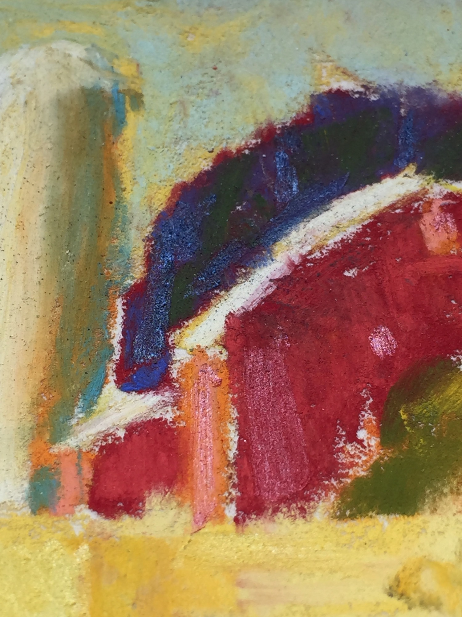Colour study titled towards light after adding Sennelier's iridescent pastels