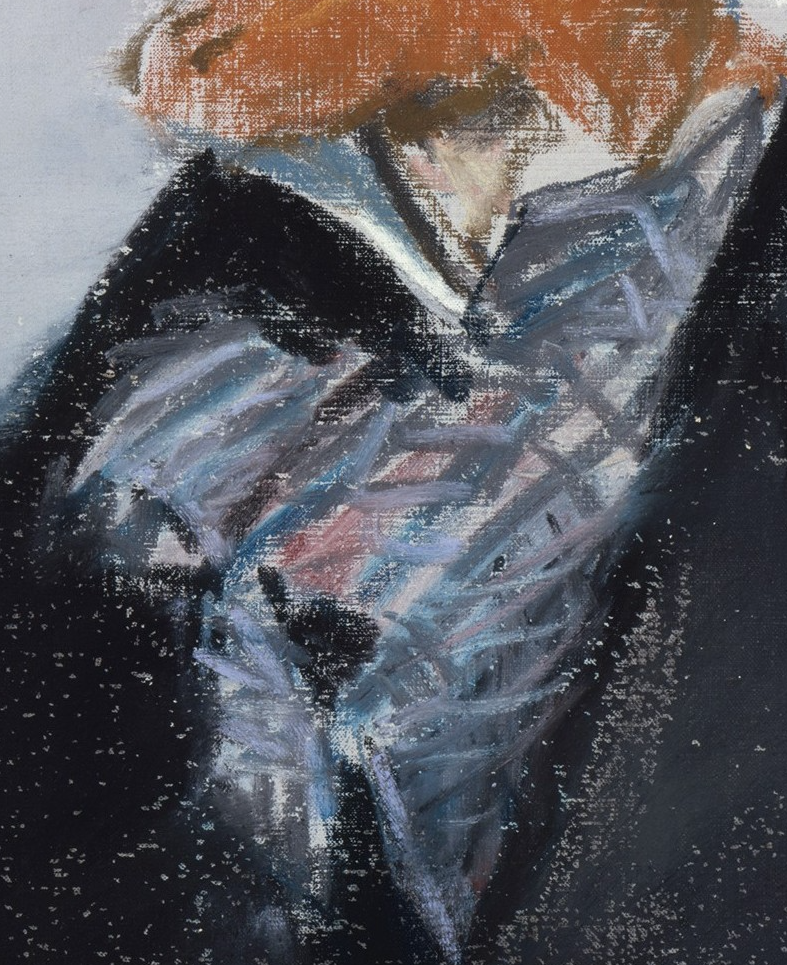 "Édouard Manet, ""George Moore,"" 1879, pastel on canvas, 21 3/4 x 13 7/8 (55.2 x 35.2 cm), Metropolitan Museum of Art, New York, USA - detail. The cravat, a place to get lost in the details of stripes, and folds. But not Manet, oh no. He grasps the design and then slashes on the pastel in brush-like strokes. Such confidence! You can feel the silkiness of the fabric and sense the colour of the clothing with that hint of pinkness in the pattern."