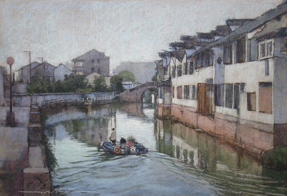 "Artist interview videos: Alan Flattmann, ""Tiger Hill Canal Scene,"" pastel, 22 x 32 in"