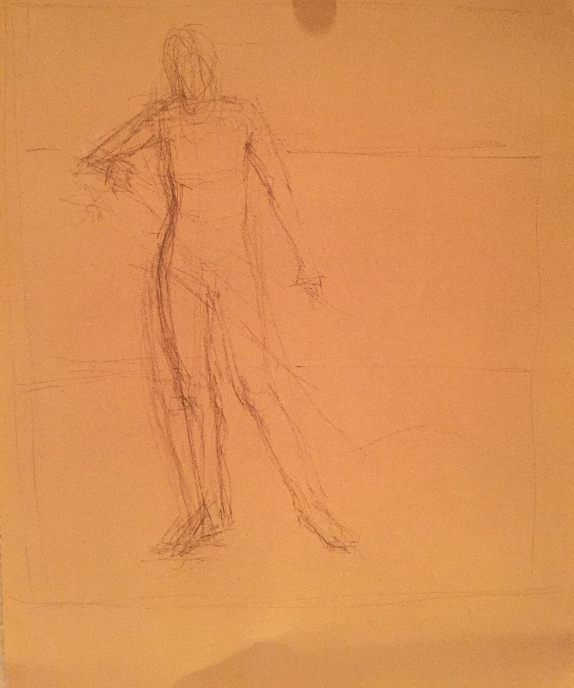 Demo with Sennelier pastels: Cretacolour pencil used to draw up the figure on La Carte paper. I would normally use vine charcoal but none available. This pencil worked well.