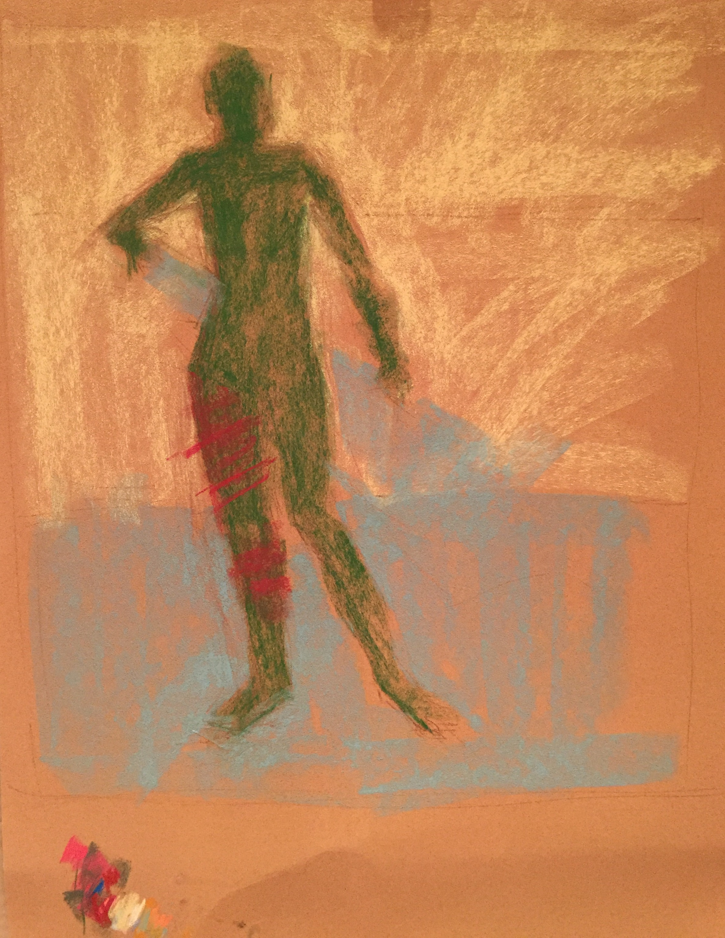 Demo with Sennelier pastels: Value areas blocked in - dark of silhouetted figure, middle value of lower area of sand, and light area of the sea.