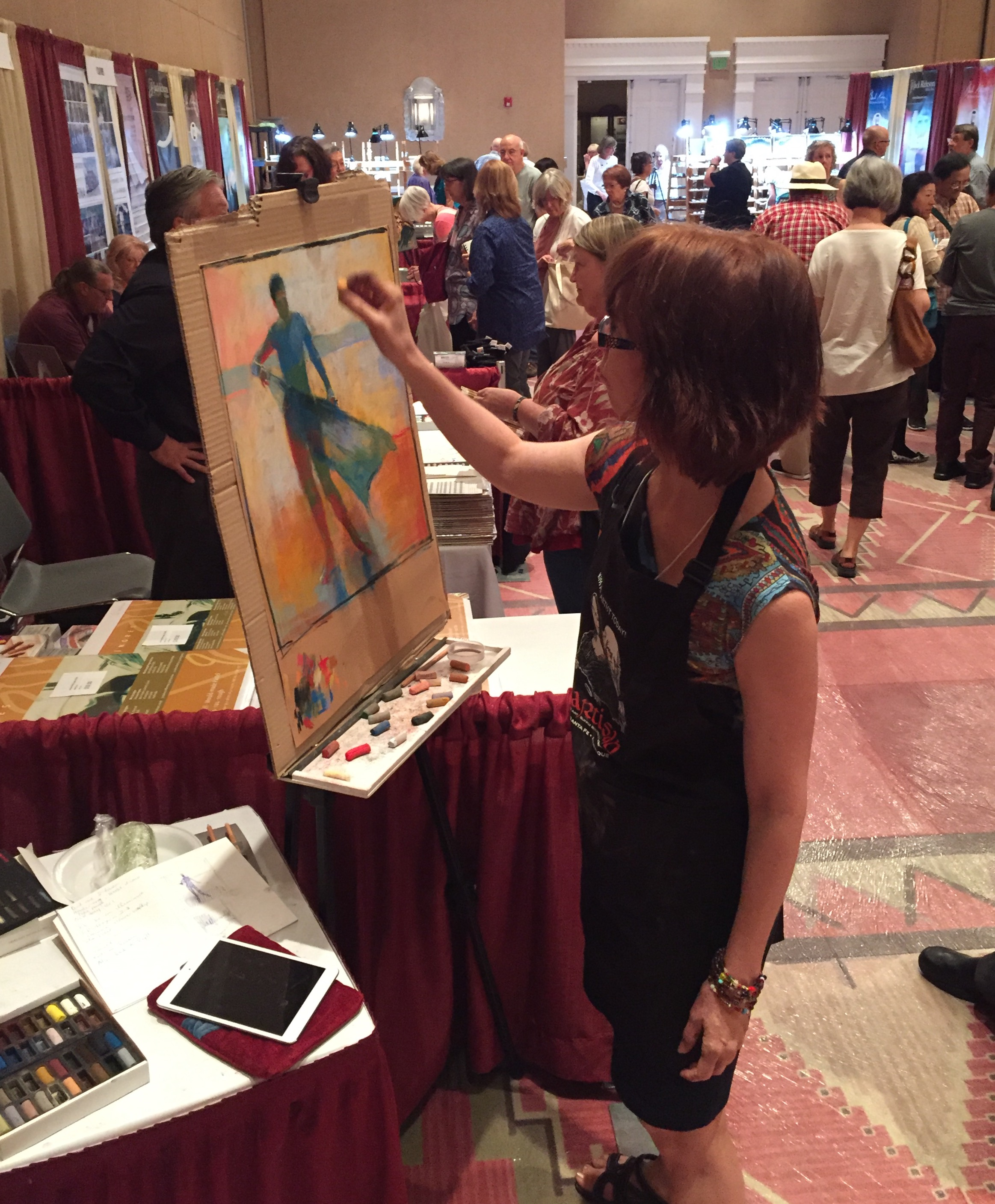 Demo with Sennelier pastels: Here I am working on the piece in the Savoire Faire booth. Great fun!