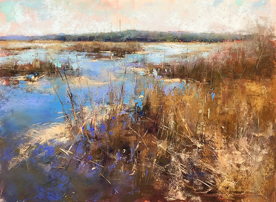"Artist interview videos: Jacob Aguiar, ""Marsh Complements,"" pastel, 9 x 12 in"