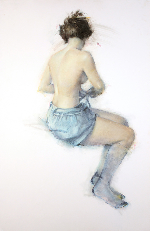 "May's impressive pastels: Jane Radstrom, ""Girl in Blue,"" 2012, pastel on paper, 38 x 26 in"