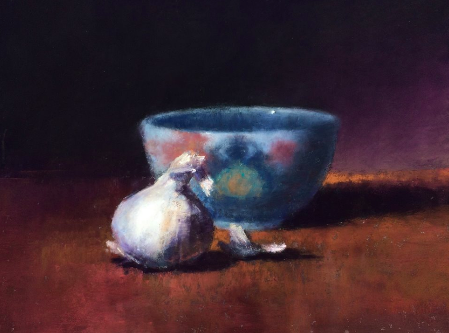 "May's impressive pastels: Jeanne Tangney, ""Allium,"" pastel, 9 x 12 in"