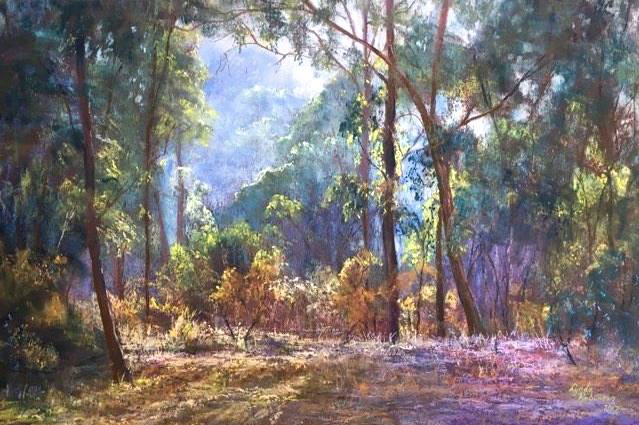 "May's Impressive Pastels: Lynda Robinson, ""Bush Colours,"" pastel on Colourfix paper, 15 3/4 x 23 5/8 in (40 x 60 cm)"