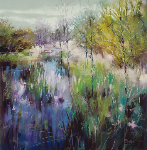 "Artist Interview Videos: Marla Baggetta, ""Enchanted by Green,"" pastel, 15 x 15 in"