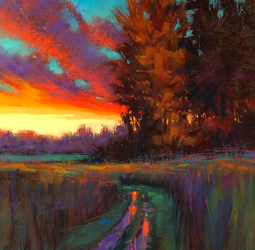 "Artist Interview Videos: Marla Baggetta, ""Sunset Walk,"" pastel, 15 x 15 in"