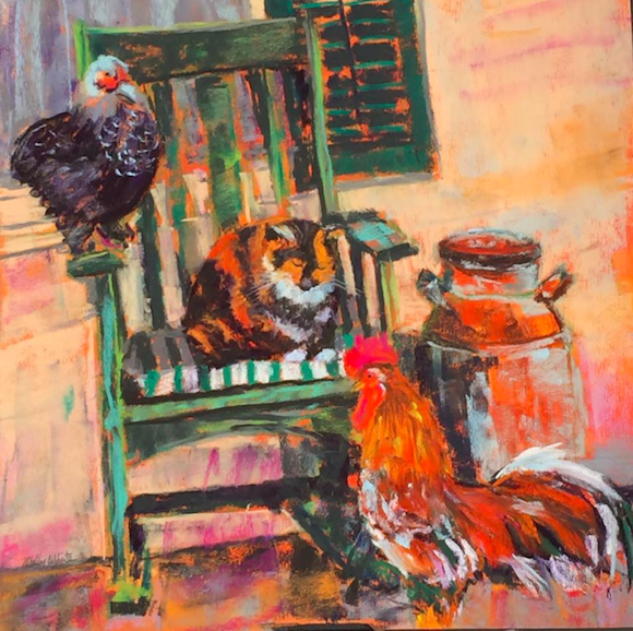 "May's Impressive Pastels: Molly Jackson White, ""Friends,"" pastel on UART 500, 12 x 12 in"