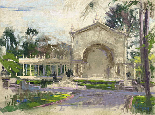 "Nancie King Mertz, ""Balboa Park,"" 2017, plein air soft pastel on UArt paper, 12 x 16 in. Painted during the Plein Air Convention in San Diego this year."