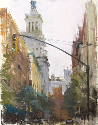 "Nancie King Mertz, ""Irving & 18th,"" soft pastels on UArt paper, 14 x 11 in. Plein air painted in Grammercy Park as a demo for a class I taught for PSA last fall."