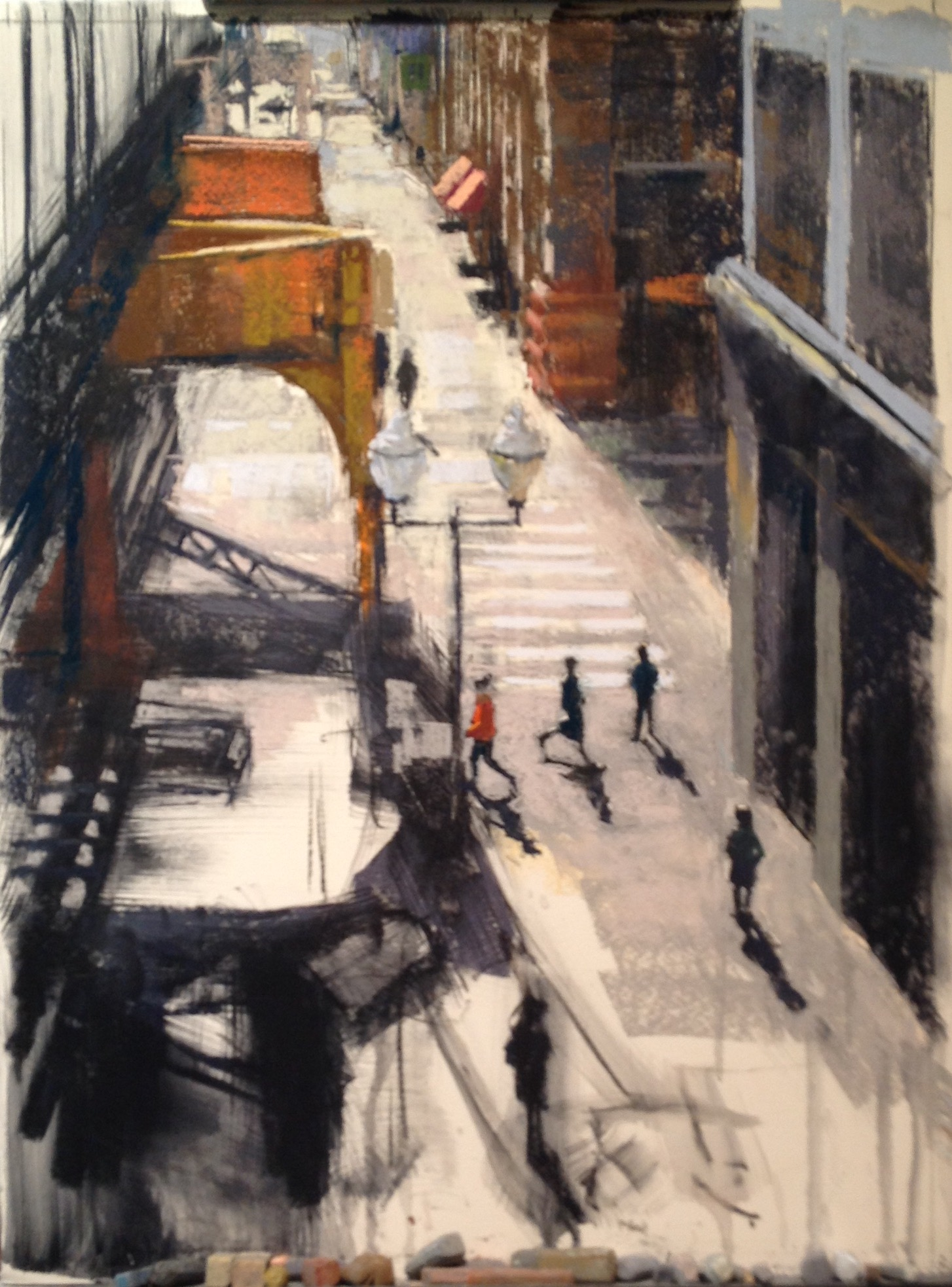 "Nancie King Mertz, ""Light Commute,"" 2017, variety of soft pastels on dry mounted Wallis paper, 23 x 19 in. Step 5."