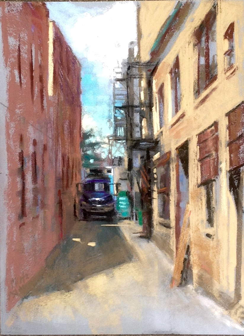 "Nancie King Mertz, ""Light Load,"" 2016, soft pastels on mounted Wallis paper, 16 x 12 in. Chicago Plein Air Painters meet most every Saturday to explore different neighbourhoods in the city. I love to join them when I can."