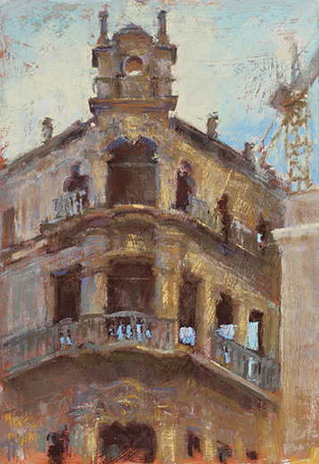 "Nancie King Mertz, New Life in the Old Plaza, 2016, soft pastels on gessoed Gatorboard, 16 x 11 in. I describe Cuba as being in ""elegant decay"" as so much of the beautiful architecture is crumbling onto the streets. In the Old Plaza, however, many of the surrounding buildings are being restored by families and groups that have ""adopted"" them."