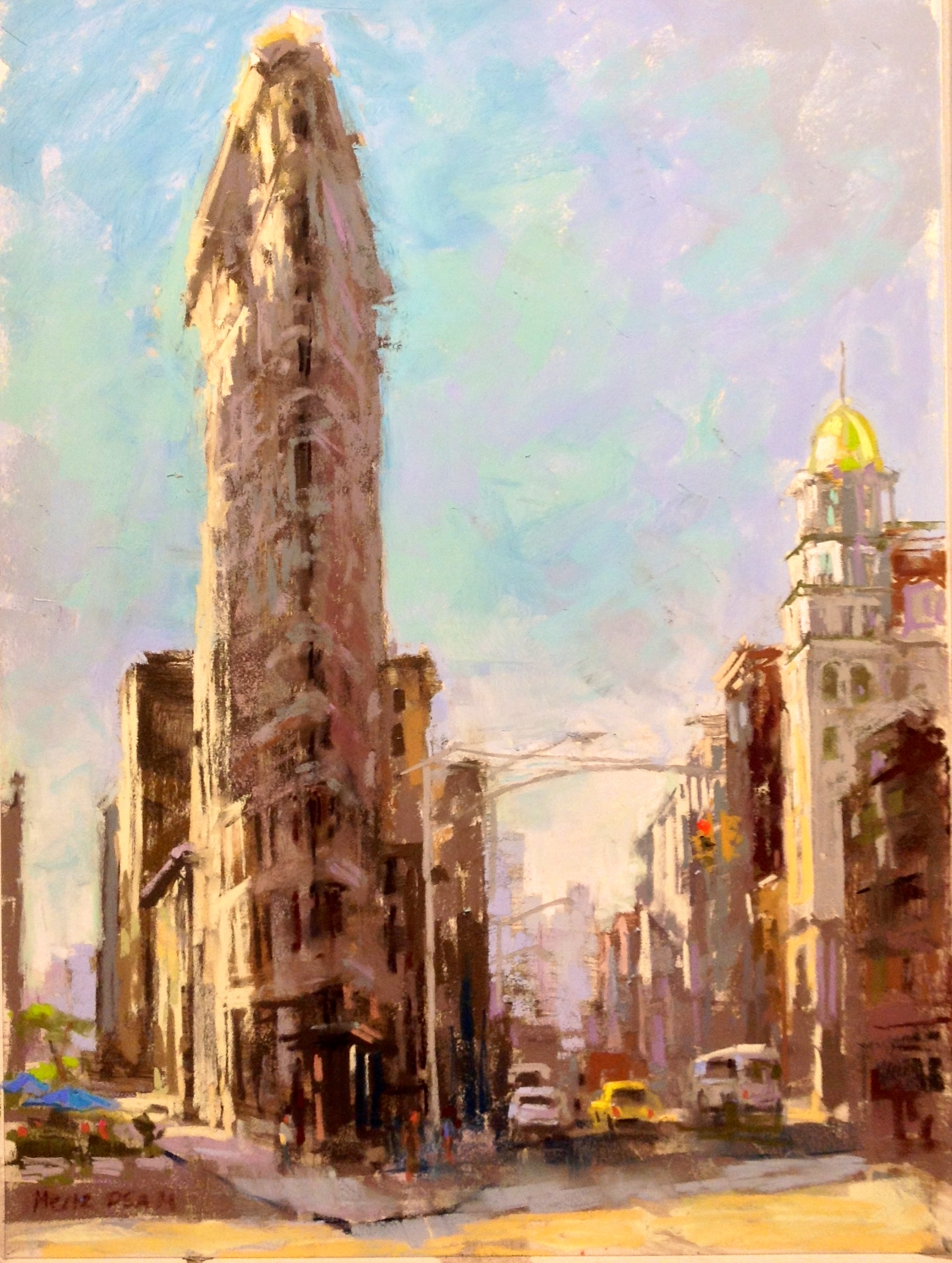 "Nancie King Mertz, ""Flatiron,"" 2015, plein air soft pastel on mounted Wallis paper, 16 x 12 in. I love to set up on the streets of New York City to paint. People are very respectful but invariably will always take a selfie with my painting in their background!"
