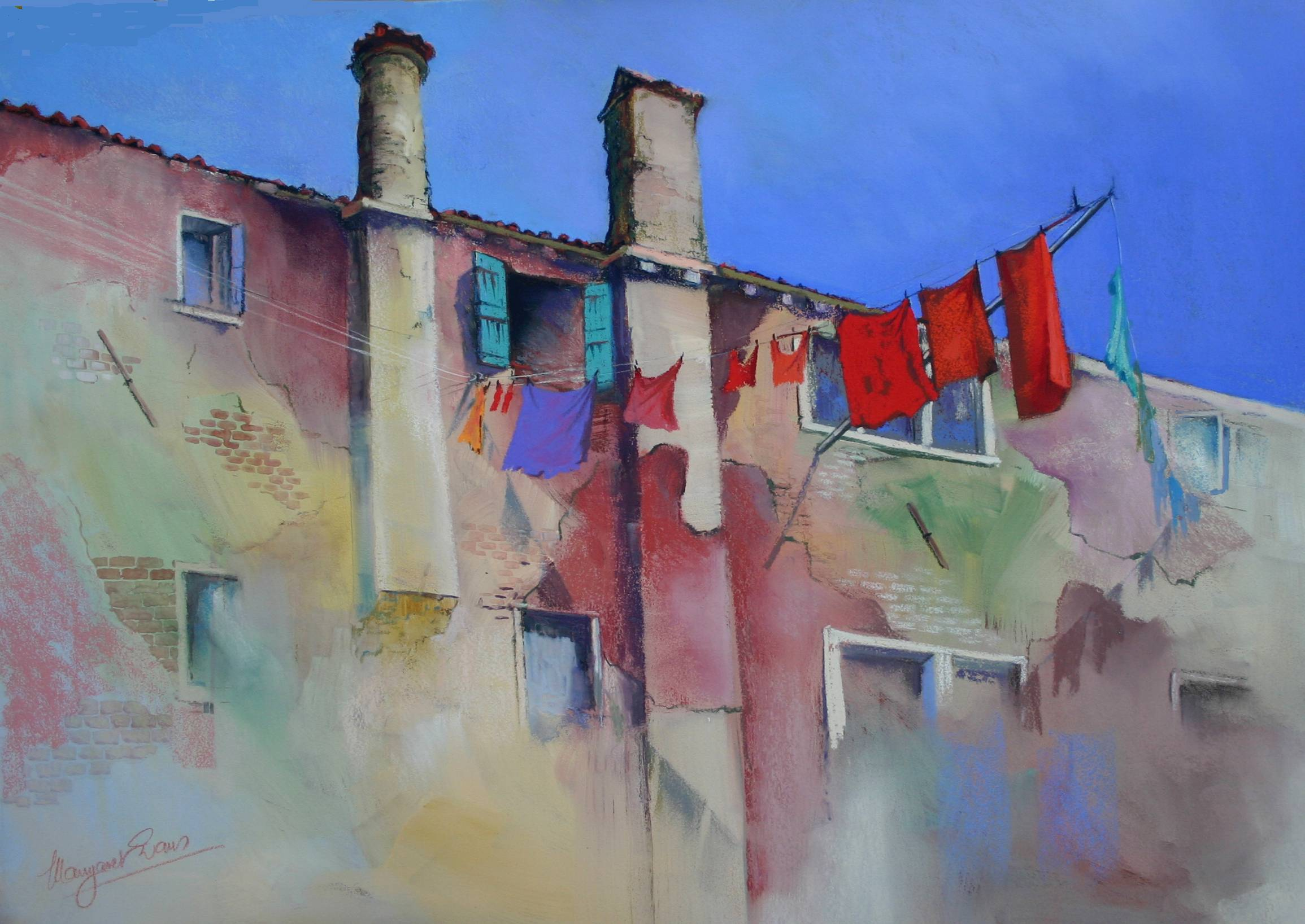 "Artist interview videos: Margaret Evans, ""Red Wash Day, Venice,"" pastel, 26 x 20 in"