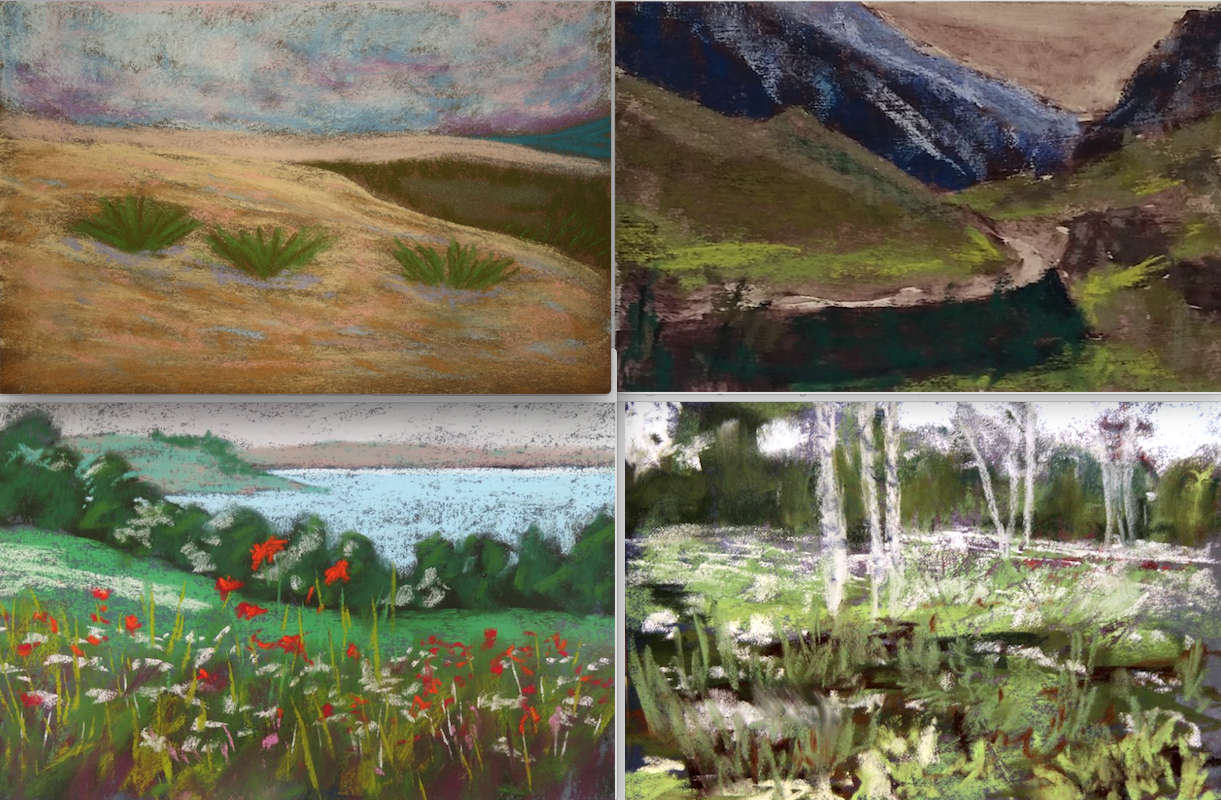 10-minute painting - Landscapes by (clockwise from top left): Maria Romero, Patricia Faulkner Cisek, Wendy Prest, Ruth Mann