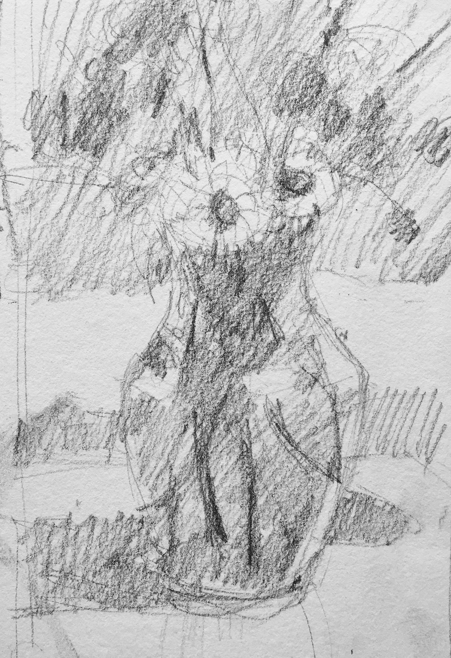 1. Thumbnail sketch in HB pencil - for Summer Flowers in a Vase