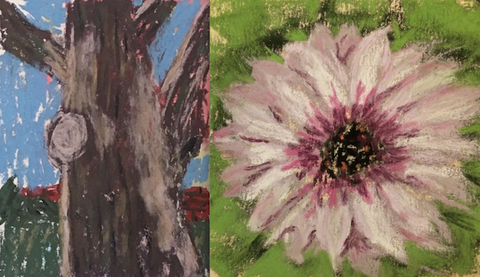 10-minute painting - nature close up. Artists left to right: Elaine Benevides and Gisela Llorens