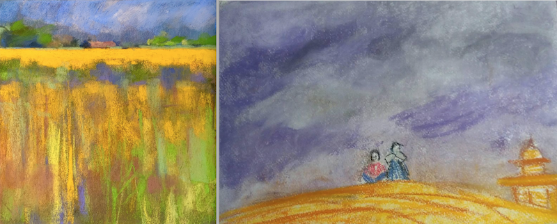 10-minute painting - landscapes. Artists (from left to right): Gareth Jones and Iris Devadason