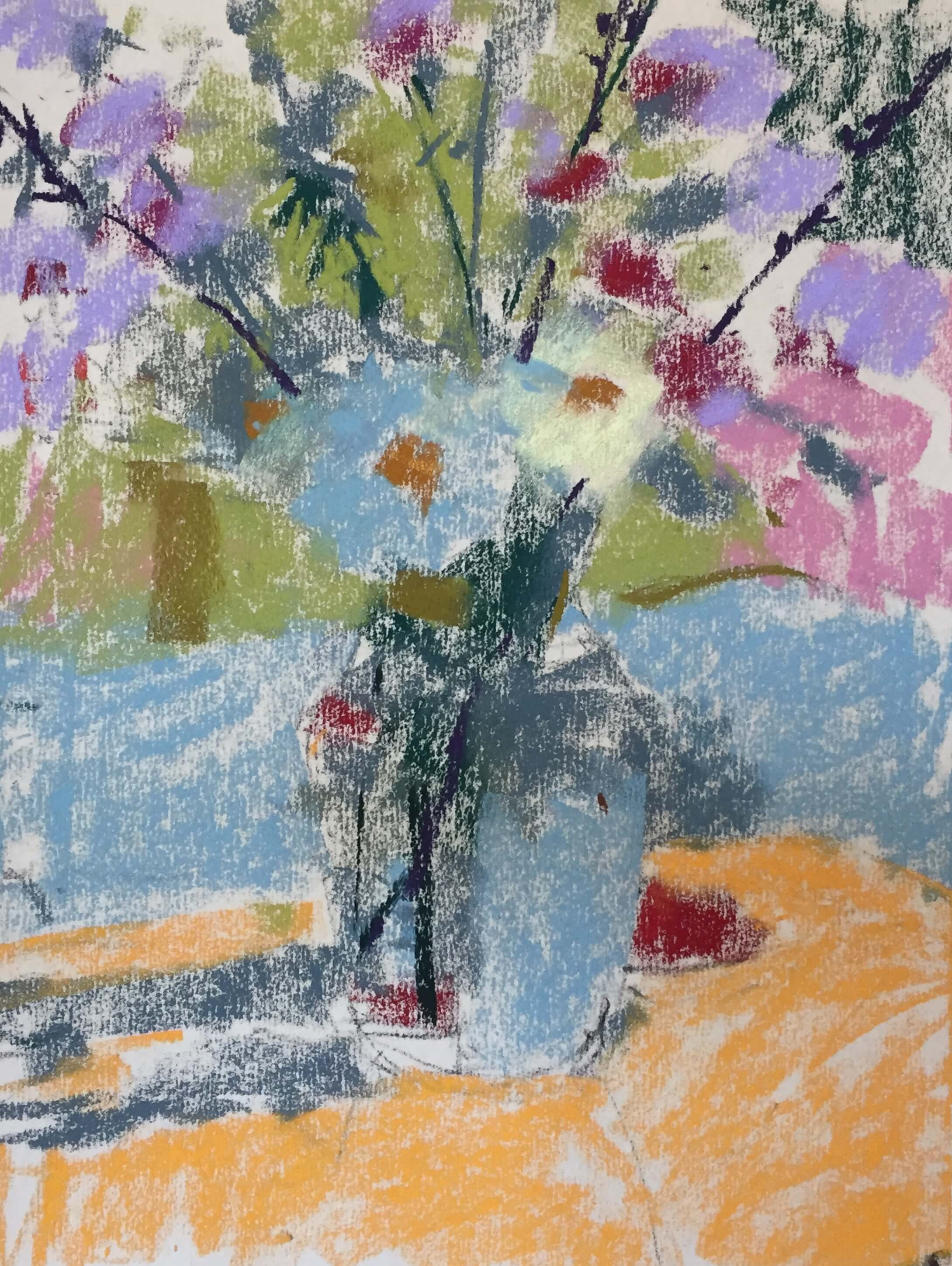 3. Rather than put down colours for the three value shapes. I decided to do something different. I started with a few colours aware of the value areas but seeing colour and placing it very broadly. Summer Flowers in a vase