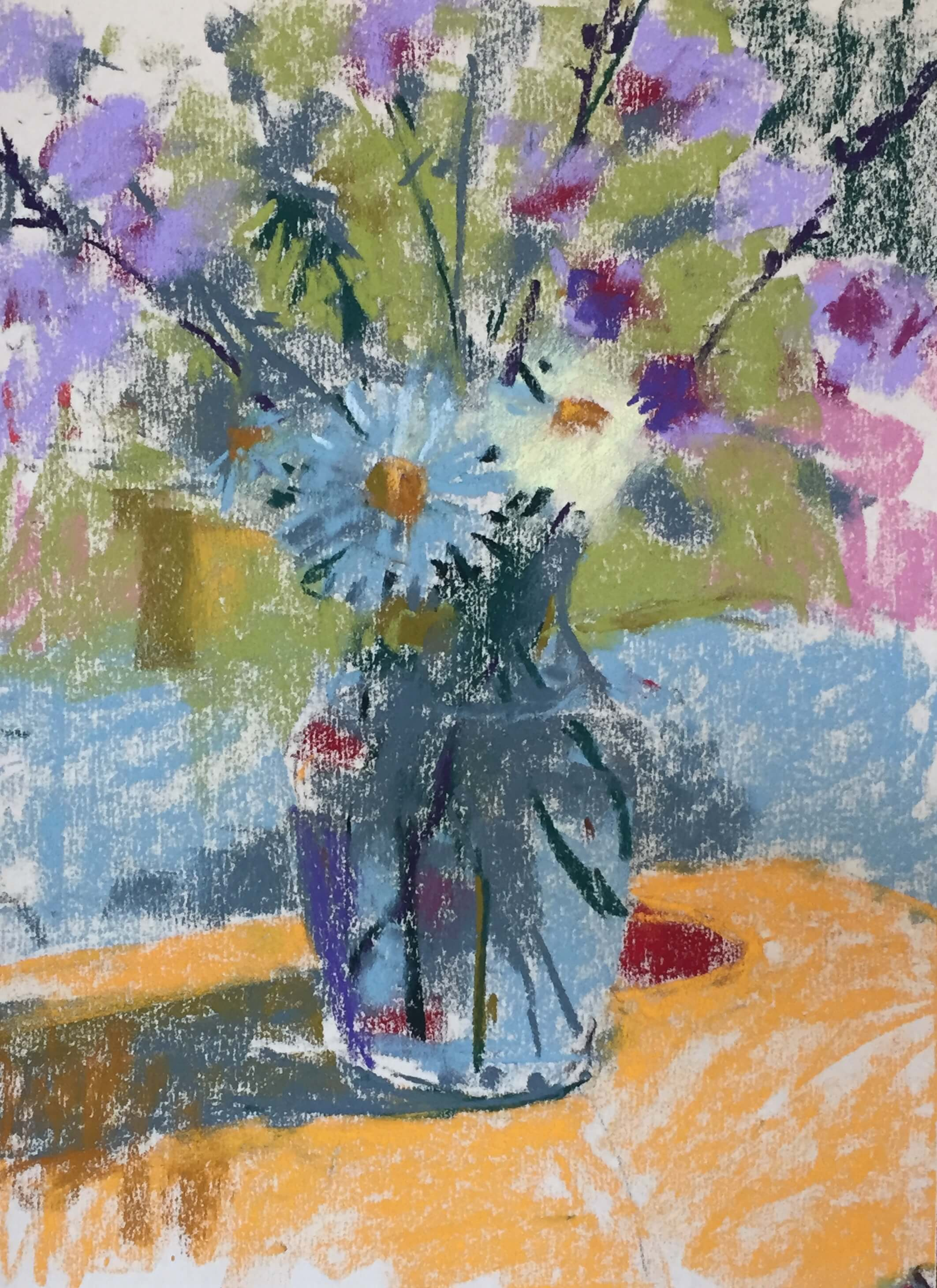 4. Added the darkest darks and began to refine some shapes - e.g. one of the daisies - using negative space. Summer Flowers in a Vase