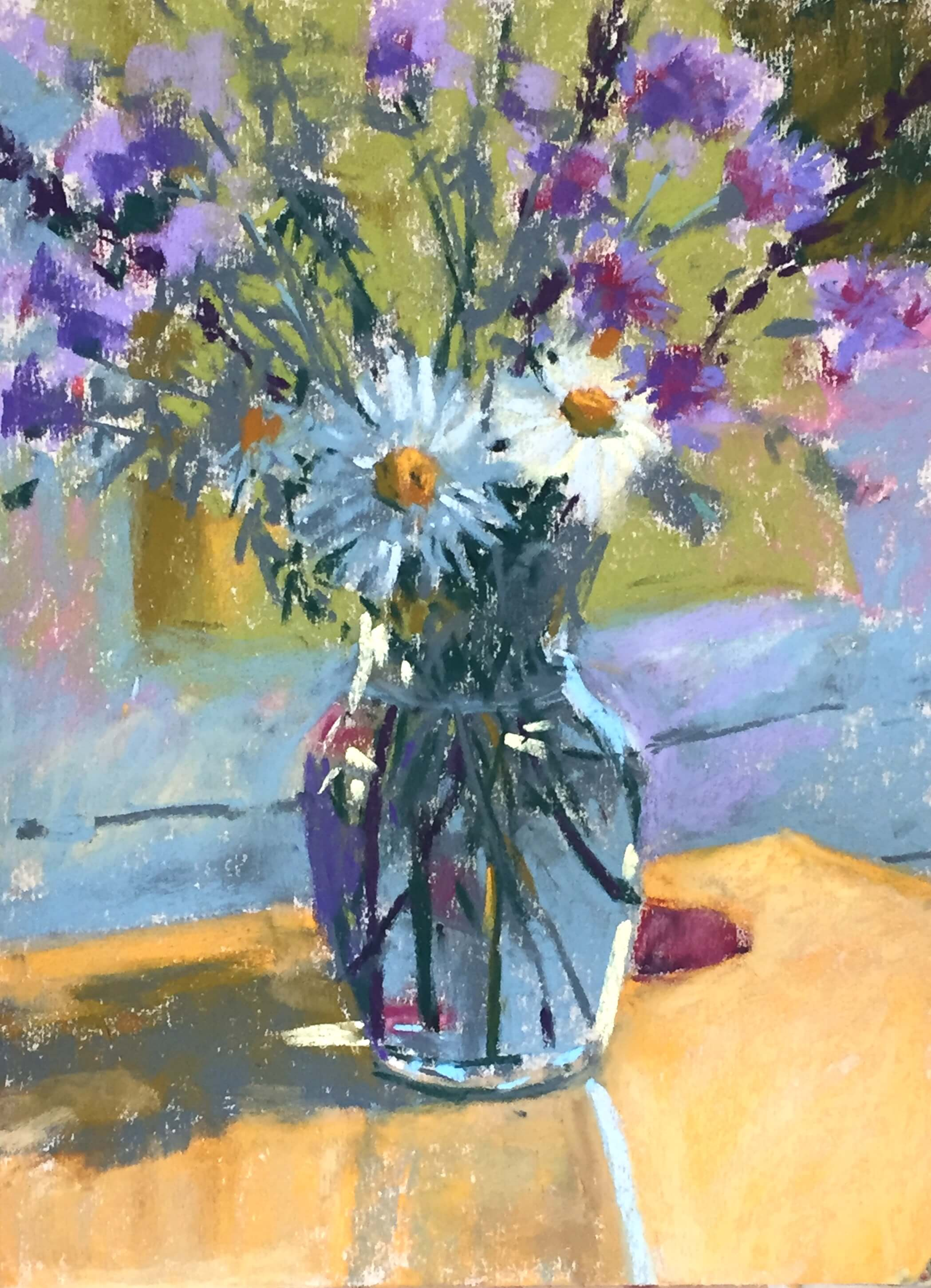 6. Worked on the table - shadow and light areas. Then added highlights especially on vase! My favourite part. Look and add then don't fuss I tell myself! Summer Flowers in a Vase
