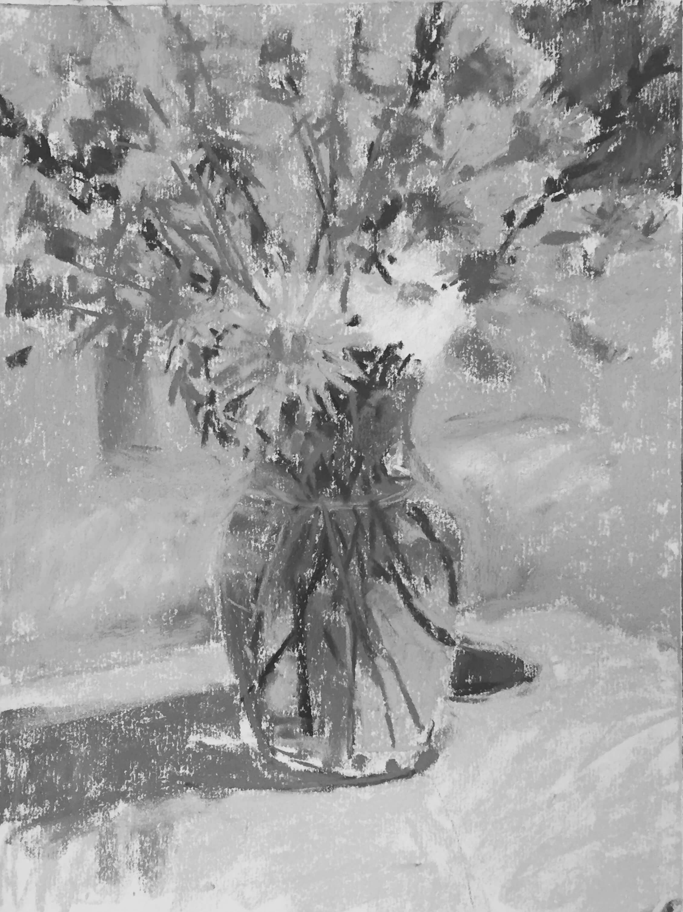 5a. The same image above in black and white. I always like to check in on my values and see how closely I am sticking to my thumbnail map. I can see I will need to lighten parts of the coach and also the main daisy (but I know when I get to the highlights that will happen). Summer Flowers in a Vase