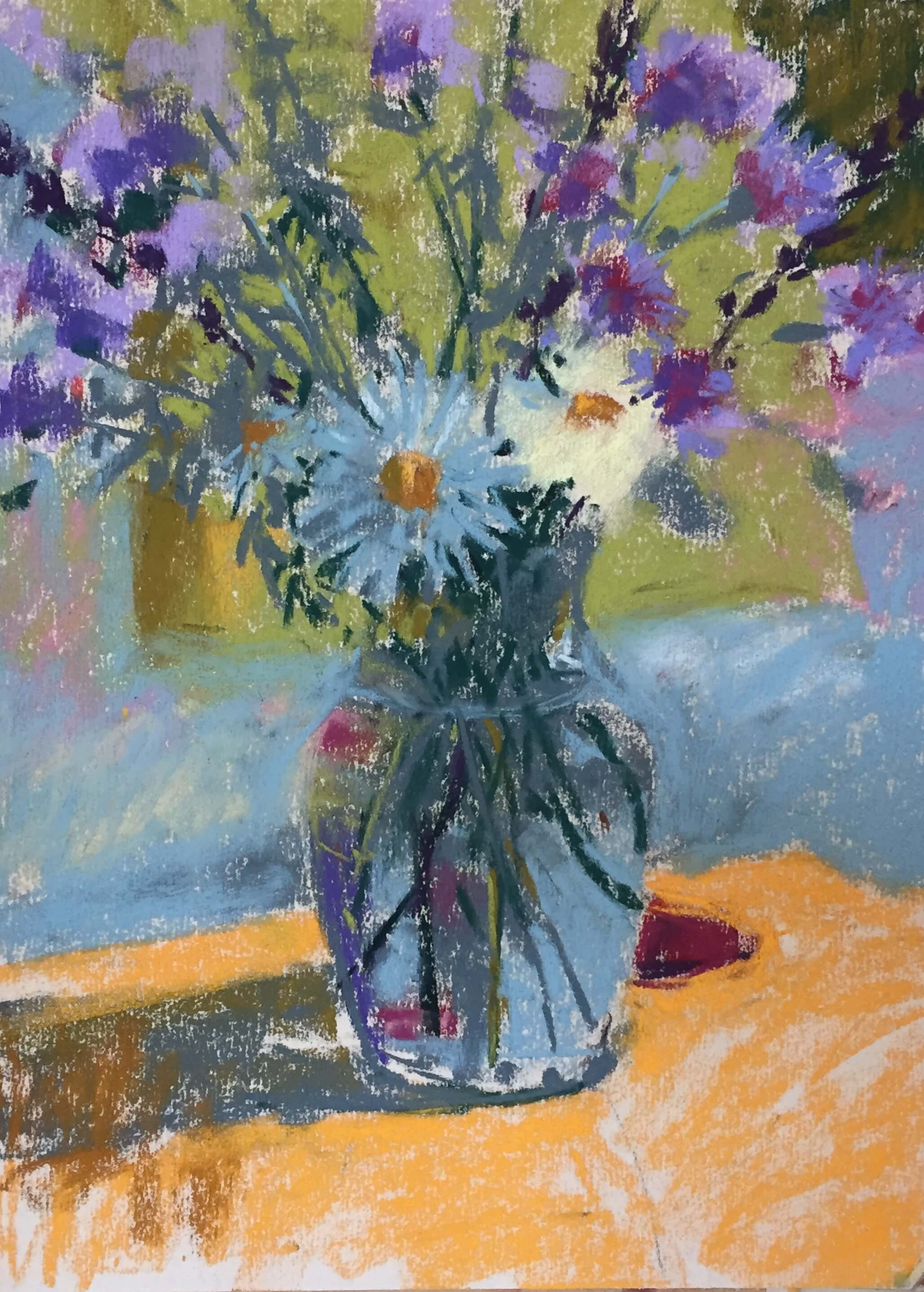 5. Clarifying shapes. Originally I had thought to make the background abstract but as I worked I began to like the idea of the couch and cushion so worked with that idea instead. Summer Flowers in a Vase