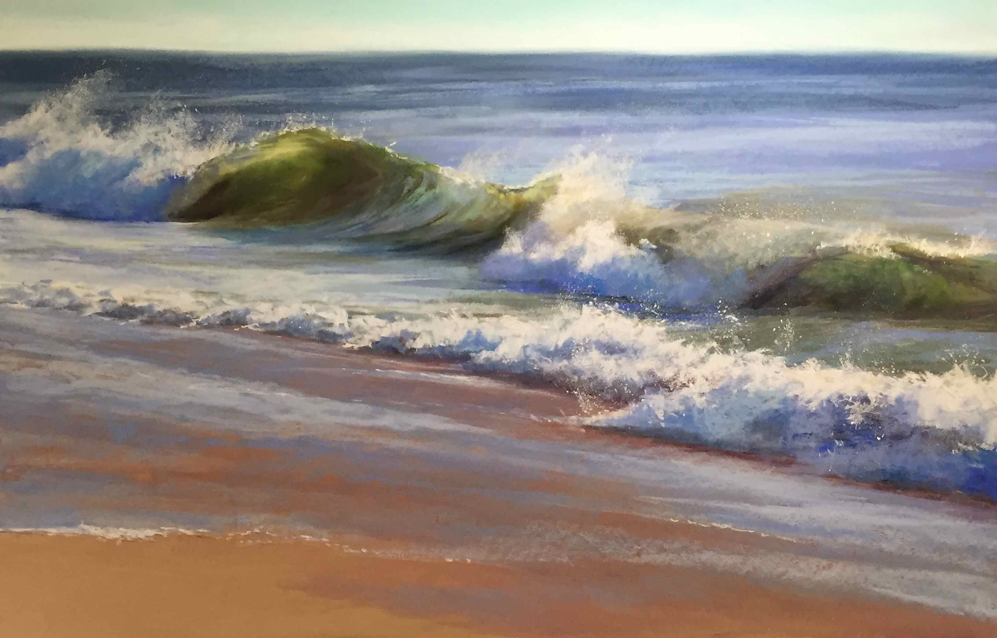"Jeanne Rosier Smith, ""A New Day,"" pastel, 24 x 36in. I caught this spectacular wave after an all-night rainstorm."