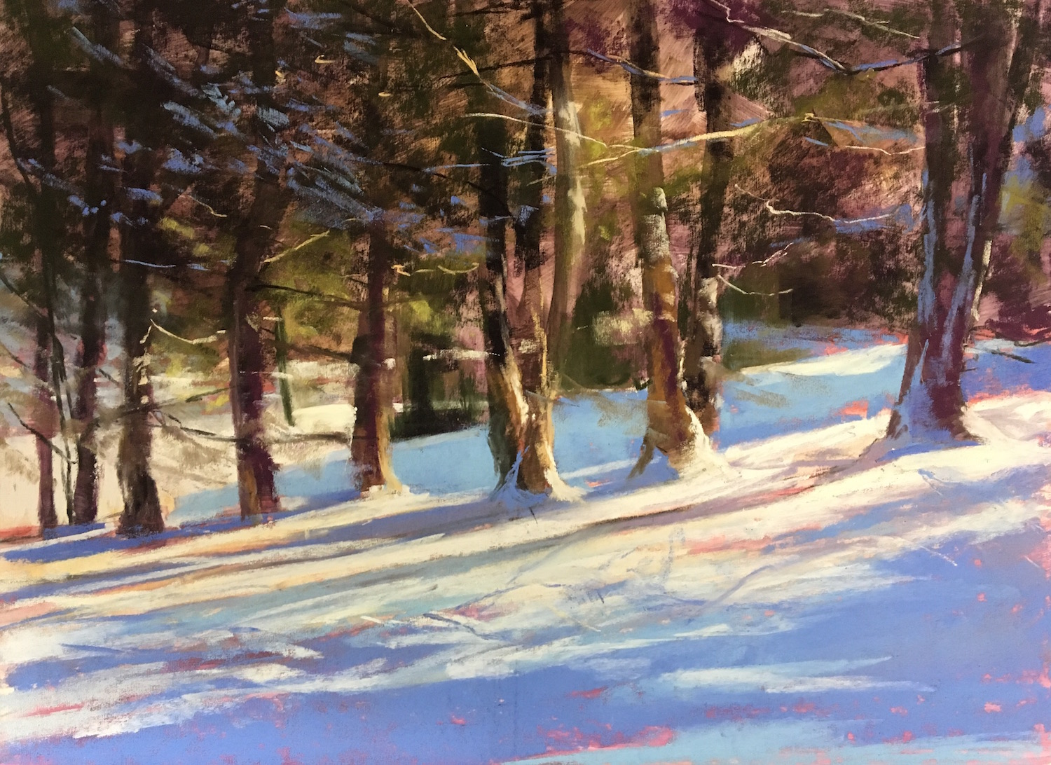 "Jeanne Rosier Smith, ""Backyard Beauty,"" pastel, 12 x 16in. I can't paint plein air in the snow, and photos don't do the colors justice. Luckily I have a great view from my window. This was painted from a photo taken in my backyard, and a study painted from my kitchen window."