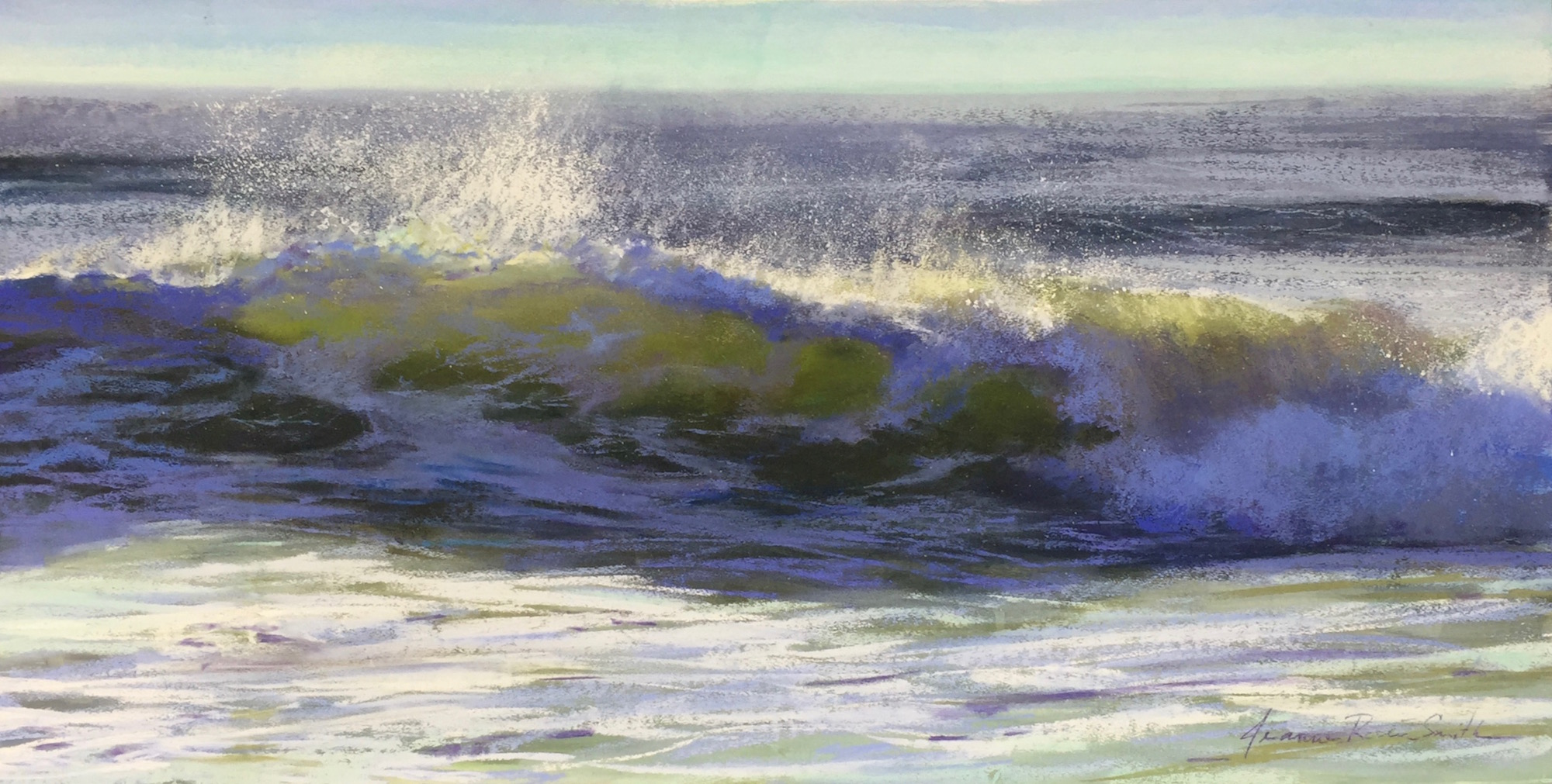 "Jeanne Rosier Smith, ""Before the Fall,"" pastel,15 x 30in. My favourite moment: when a wave is about to break, fleeting beauty in motion, caught in stillness."