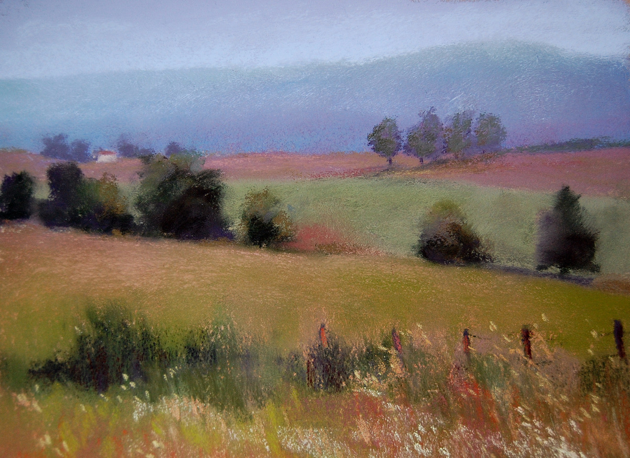 "Jeanne Rosier Smith, ""Blue Ridge Haze,"" pastel, 9 x 12in. Done in dry pastel on a terra cotta sanded paper, this one shows what I learned from my early studies of the landscape in Mowry's book: layering colors of similar value to create atmospheric perspective and mood, and a creative interpretation of a photo."