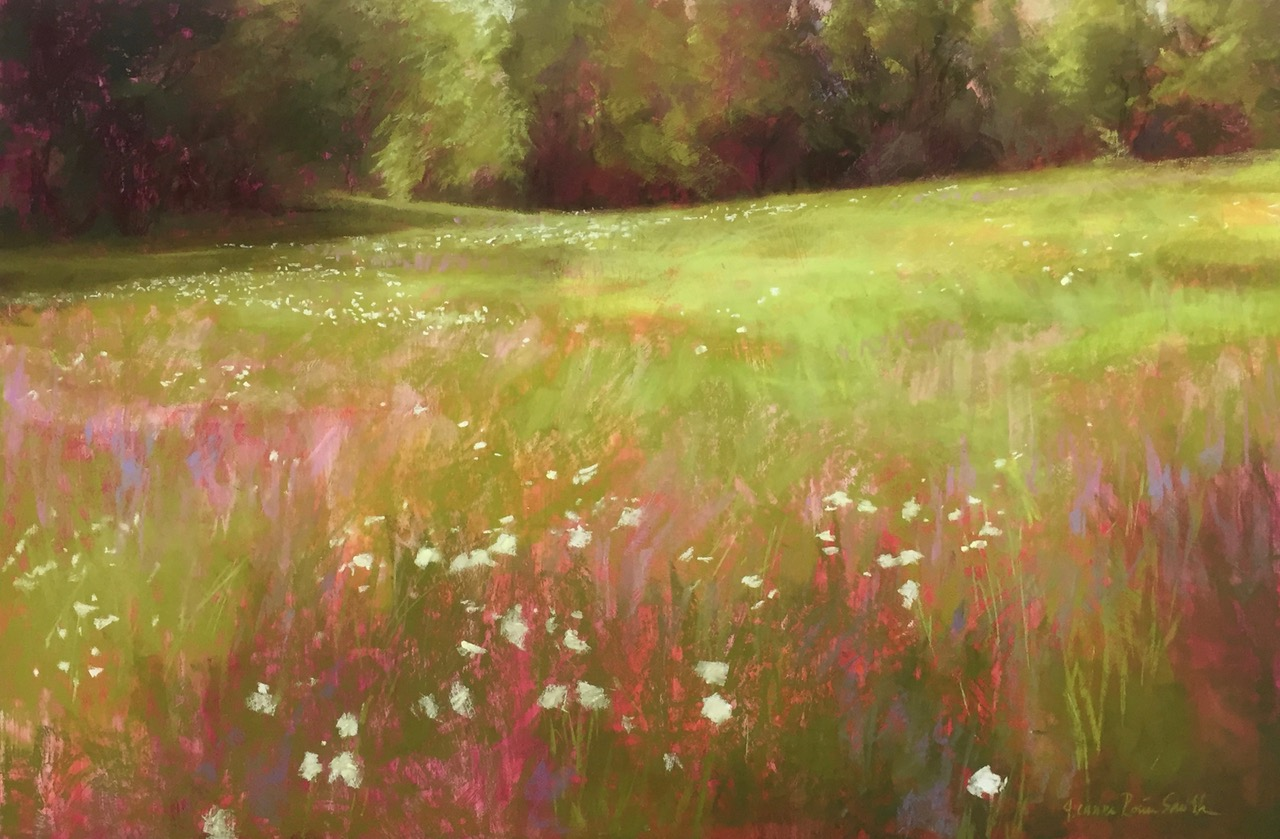 "Jeanne Rosier Smith, ""Deep in the Meadow,"" pastel on Uart paper, mounted on Gatorboard, 24 x 36in. This painting is a larger version of a series I created while teaching a plein air ""Meadows"" class last summer with my Sudbury Studio classes."