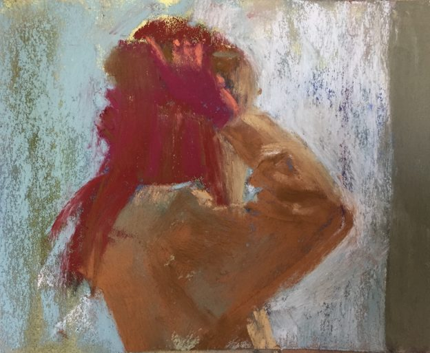 "10 minute painting: Gail Sibley, ""Hair Care,"" Unison pastels on UART 320 paper, 5 x 6 in"