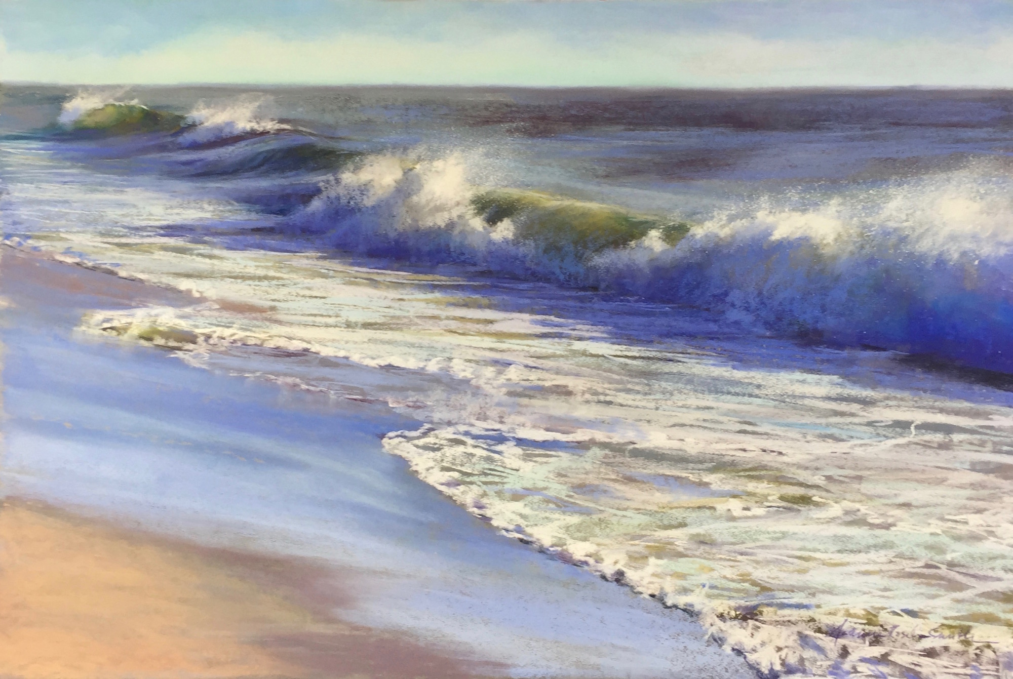 "Jeanne Rosier Smith, ""Roar of the Sea,"" pastel, 24 x 36 in. This painting reminds me of pastel's flexibility. I decided after I completed this painting that I disliked the forground, which was completely covered with foam: so I brushed it all off and composed something new."