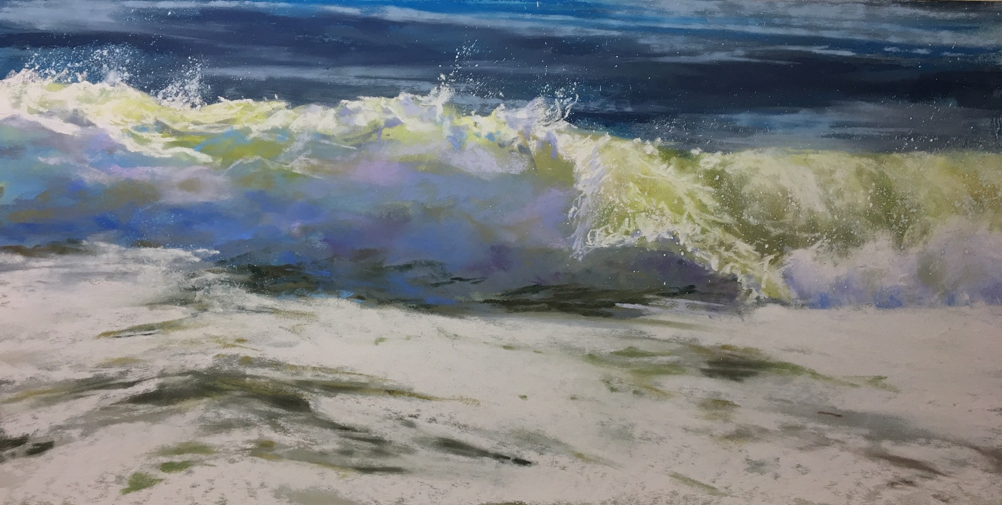 "Jeanne Rosier Smith, ""On The Edge,"" pastel, 16 x 20in. My interest here lay in the power and movement of the wave's forward curve. Contrasting soft-edged mist with crisp white foam created the drama and depth I was after."