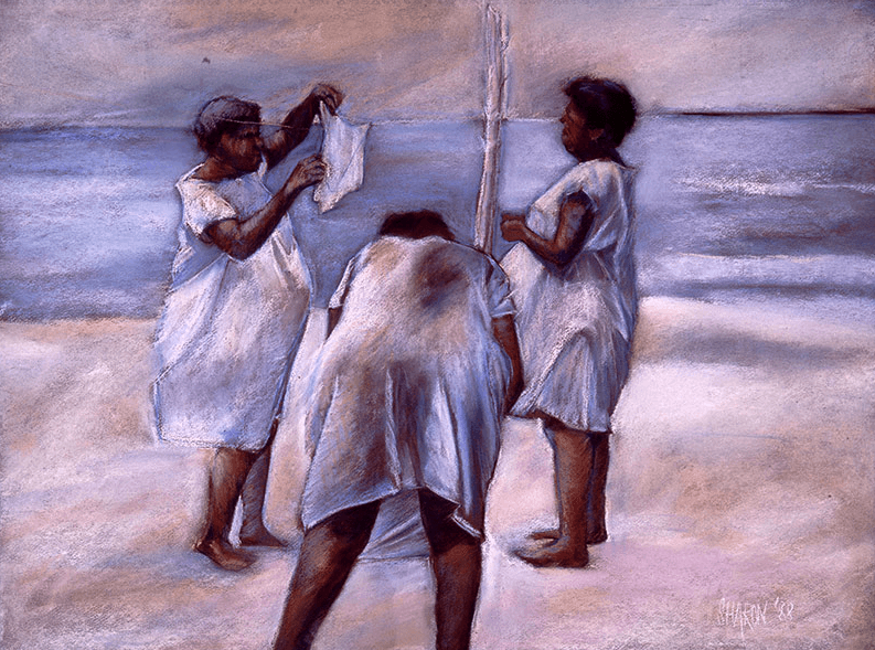 "June's Unique Pastels: Sharon Wilson, ""Monochromatic Women on the Beach,"" pastel, 19 x 25 in"